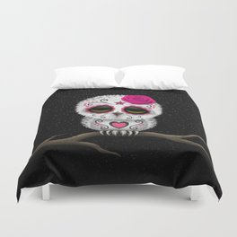 Adorable Pink Day of the Dead Sugar Skull Owl Duvet Cover