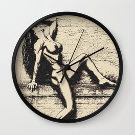 At the edge, of perfection - sexy nude girl, black and white, erotic nude, naked woman body, hot Wall Clock