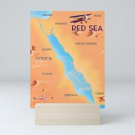 Red Sea Travel map Mini Art Print