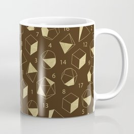 Dice Outline in Gold + Brown Coffee Mug
