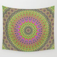 mandala Wall Tapestries featuring Floral ornament mandala  by David Zydd