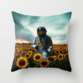 Astronaut & Sunflower Throw Pillow