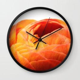 Orange Poppy on White Wall Clock