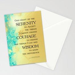 Serenity Prayer Blue Gold Flowers Stationery Cards