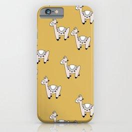 Cute little baby Llama alpaca illustration pattern neutral nursery ochre yellow iPhone Case