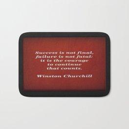 Winston Churchill Success Quote Bath Mat