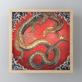 Dragon by Hokusai Framed Mini Art Print