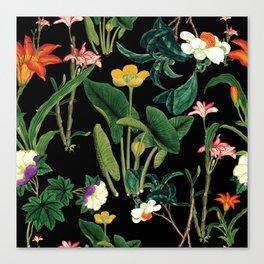 Vintage wild flowers black Canvas Print