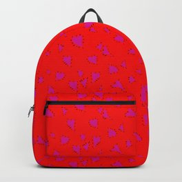 Scattered Hand-Drawn Bright Hot Pink Painted Hearts Pattern on Bright Red Backpack