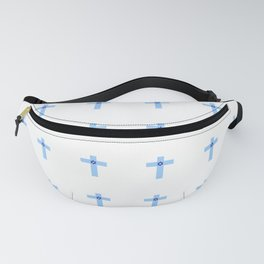 Christian Cross 25– blue with star of david Fanny Pack