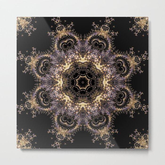 Purple and Gold Fractal Kaleidoscope 2 Metal Print