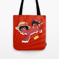 luffy Tote Bags featuring OP Pony Luffy by AbigailC