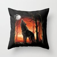 werewolf Throw Pillows featuring Werewolf by Antracit