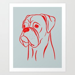 Boxer (Gray and Red) Art Print