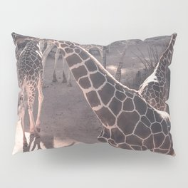 Giraffe Strut // Spotted Long Neck Graceful Creatures in Wildlife Preserve Pillow Sham