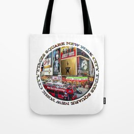 Times Square New York City (badge emblem on white) Tote Bag