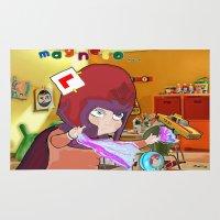 "magneto Area & Throw Rugs featuring "" Mini Magneto "" by Funki monkey animation studio"