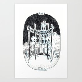 Four of Wands Skeleton Tarot Art Print