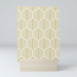 Gold Hexagonal Leaf Pattern Mini Art Print
