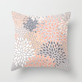 Flowers Abstract Print, Coral, Peach, Gray Throw Pillow