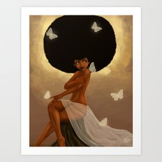 Fro and Butterflies Art Print