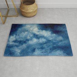 Deep Blue Cloud Painting Rug