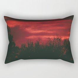 Deep Red Sky at Sunset Rectangular Pillow