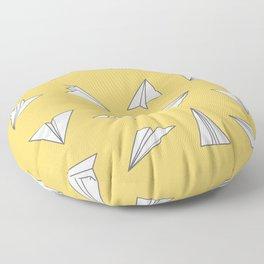 Paper Planes Pattern Print | Yellow Floor Pillow