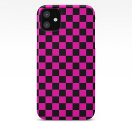 Large Hot Neon Pink and Black Racing Car Check iPhone Case
