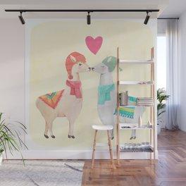 Llamas In Love Wall Mural