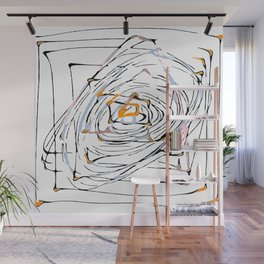 drawing square triangle and circle pattern abstract in orange blue and pink Wall Mural