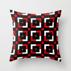Pattern black white red Throw Pillow