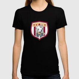 Construction Worker Jackhammer Shield Retro T-shirt