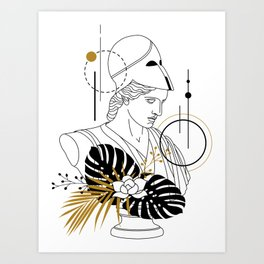 Athena (Minerva). Creative Illustration In Geometric And Line Art Style Art Print