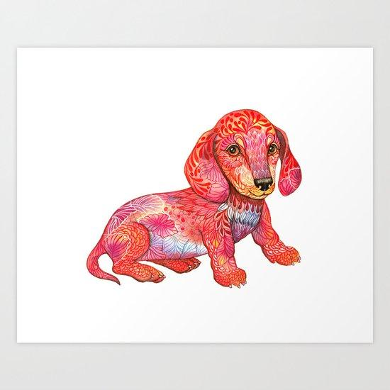 Mini Dachshund  Art Print