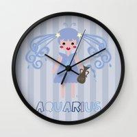 aquarius Wall Clocks featuring Aquarius by Esther Ilustra