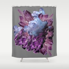 PURPLE AMETHYST WHITE QUARTZ CRYSTALS Shower Curtain