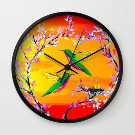 Yeloowlow and Orange with Hummingbirds Wall Clock