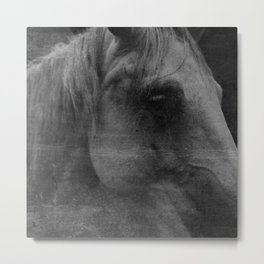 Abstract Horse No. 2 | Black + White Metal Print