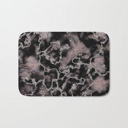 Black & Metallic Blush Pink Glitter Marble Texture Bath Mat