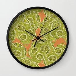 olive orange algae Wall Clock