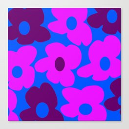 Large Pink and Purple Retro Flowers Blue Background #decor #society6 #buyart Canvas Print