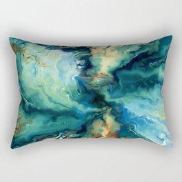 Marbled Ocean Abstract, Navy, Blue, Teal, Green Rectangular Pillow