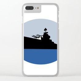 World War Two Battleship Destroyer Oval Retro Clear iPhone Case