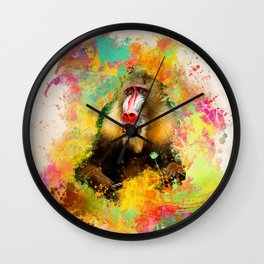 Monkey Mandrill Wall Clock
