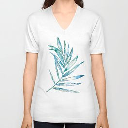 Blue Fern Leaf - Ink Painting - Botanical Unisex V-Neck
