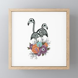 Flamingo Skeleton With Halloween Flowers Framed Mini Art Print