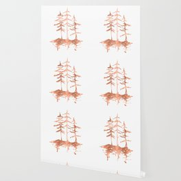 Three Sisters Trees Rose Gold on White Wallpaper