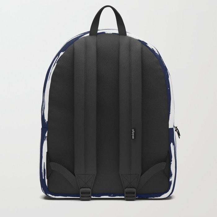 Vertical Dash White on Navy Blue Paint Stripes Backpack