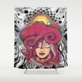 Octopus Dreams by Julie Oakes Shower Curtain